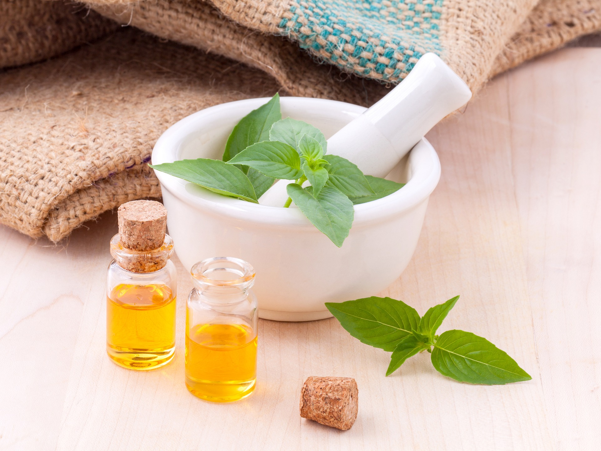 Basilic et huile végétale